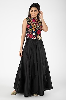 Black Embroidered Jacket With Lehenga by Aharin India