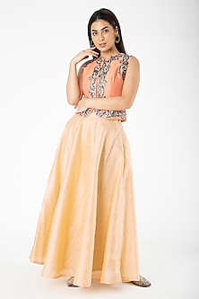 Peach Embroidered Jacket With Gold Lehenga by Aharin India