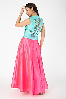 Turquoise Embroidered Jacket With Candy Pink Lehenga by Aharin India