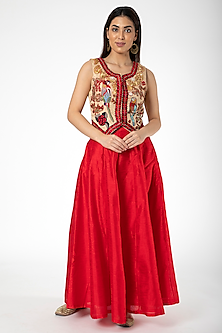 Red Embroidered Jacket With Lehenga by Aharin India