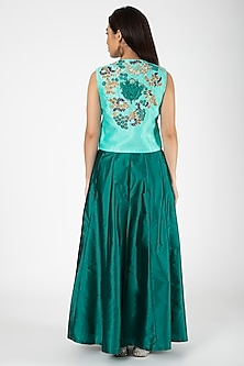 Turquoise Embroidered Jacket With Green Lehenga by Aharin India