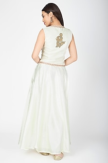 White Embroidered Jacket With Lehenga by Aharin India