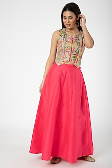 Gold Embroidered Jacket With Red Lehenga by Aharin India