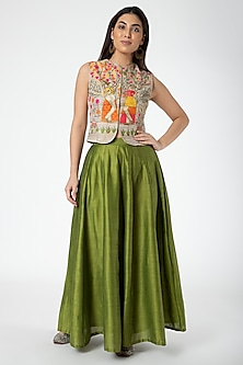 Gold Embroidered Jacket With Mehendi Green Lehenga by Aharin India