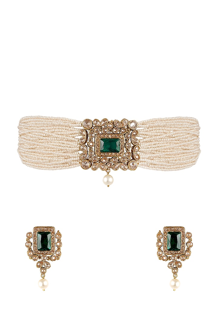 Antique Gold Finish Pearl Choker Necklace Set by Anayah Jewellery