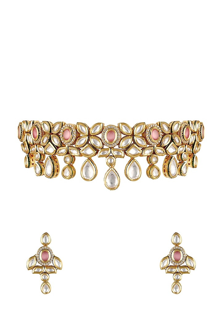 Gold Finish Pearl Necklace Set by Anayah Jewellery