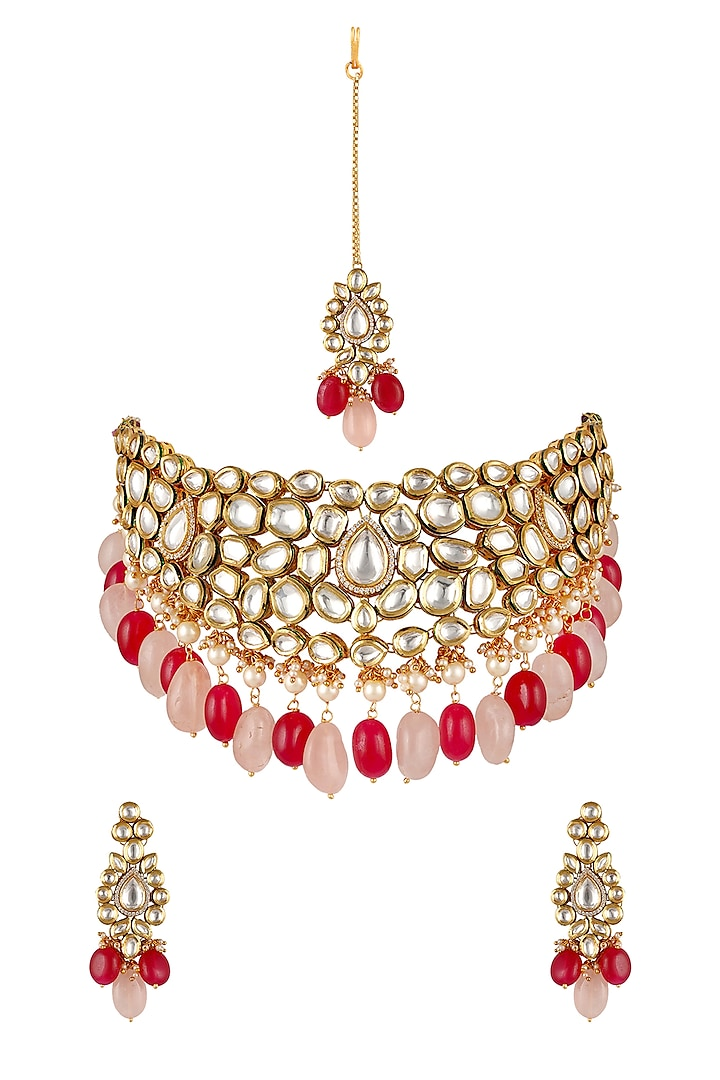 Gold Finish Necklace Set With Kundan by Anayah Jewellery