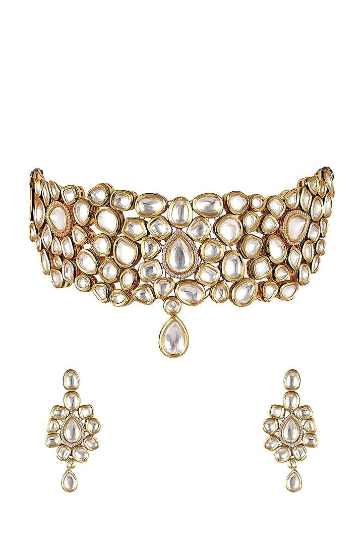Gold Finish Pearl & Kundan Necklace Set by Anayah Jewellery