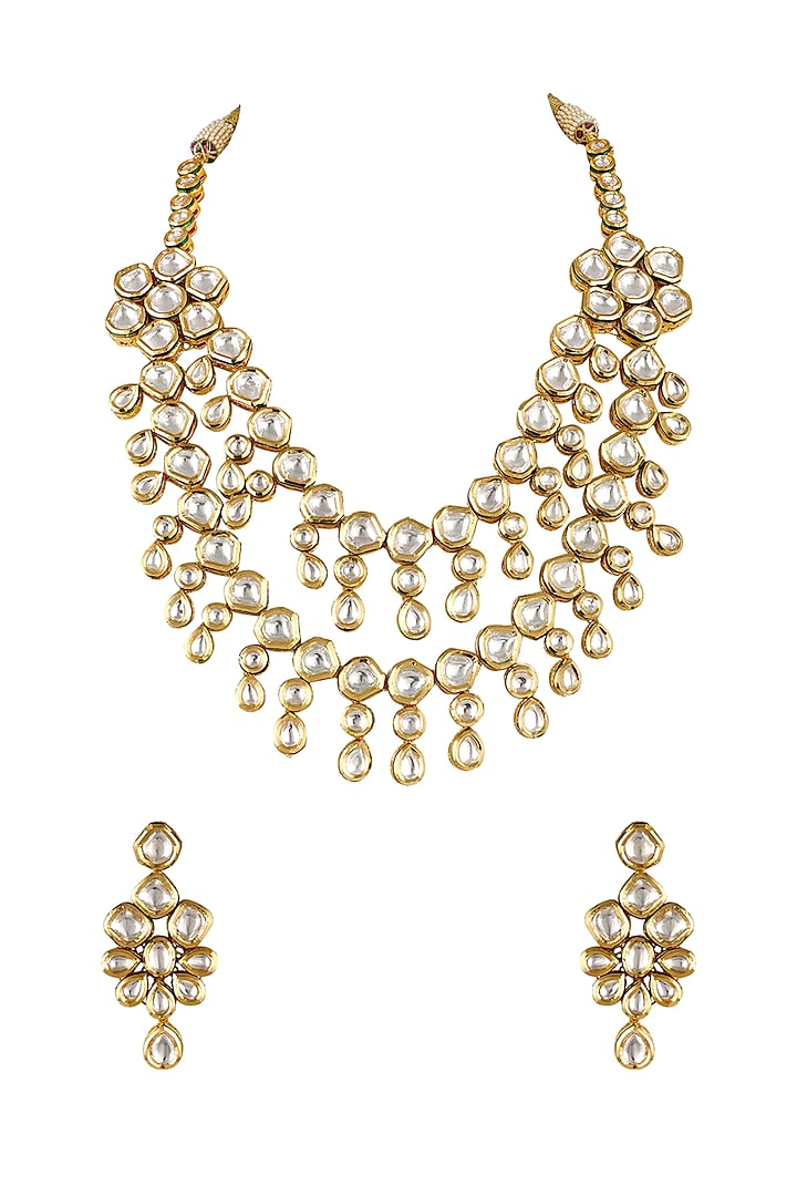 Gold Finish Necklace Set With Pearl & Kundan by Anayah Jewellery