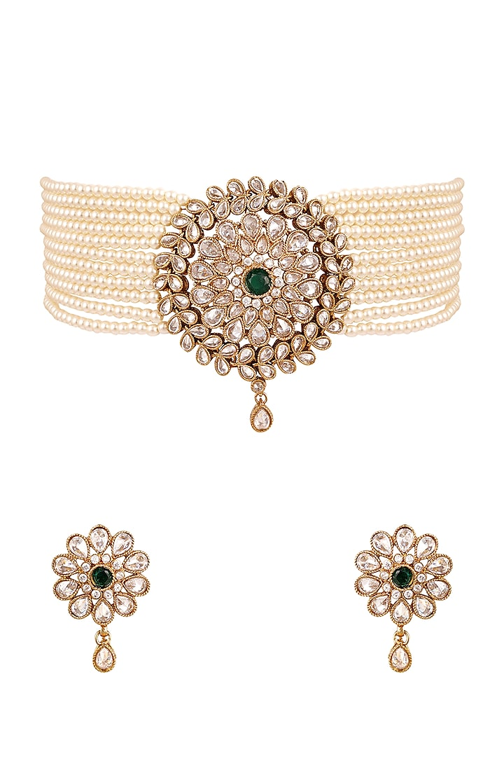 Antique Gold Finish Necklace Set by Anayah Jewellery