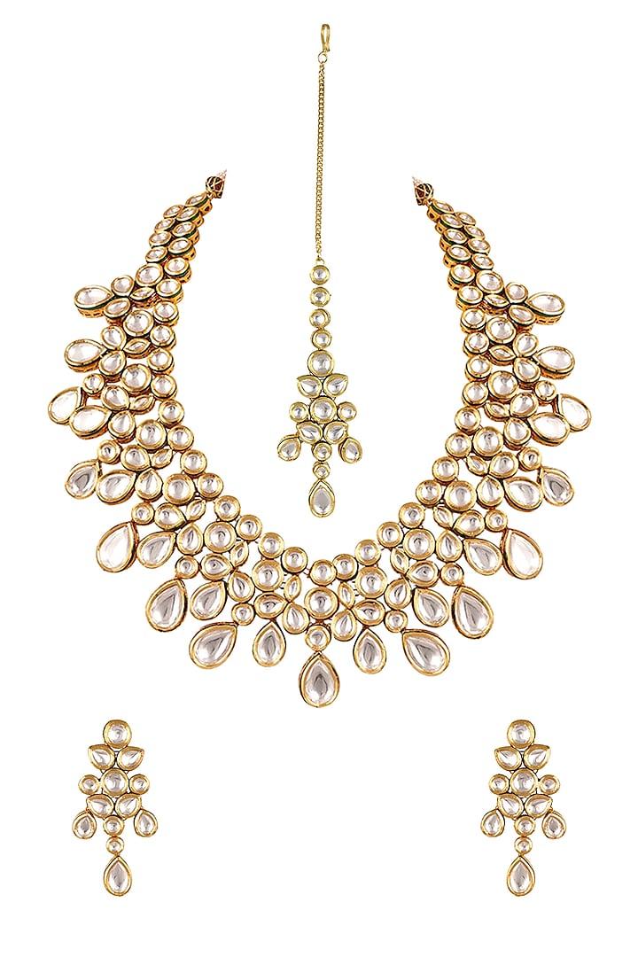 Gold Finish Kundan & Pearl Necklace Set by Anayah Jewellery