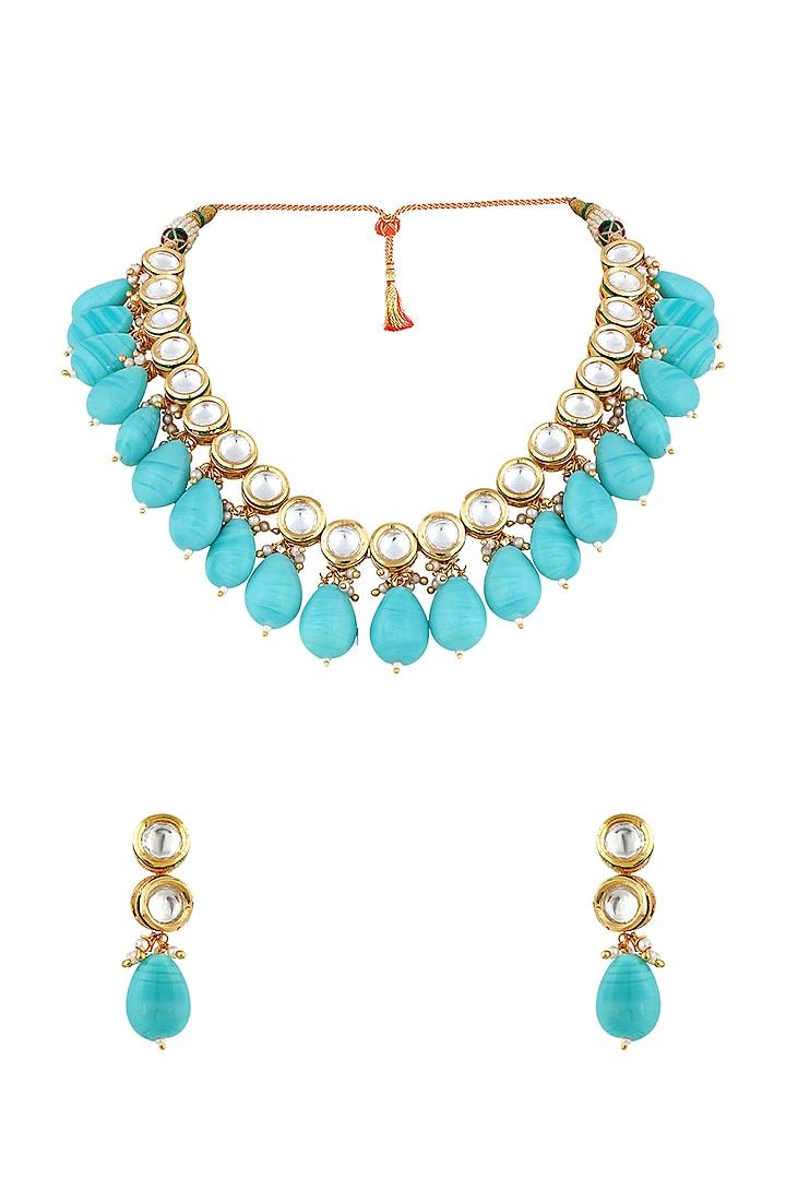 Gold Finish Kundan Necklace Set by Anayah Jewellery