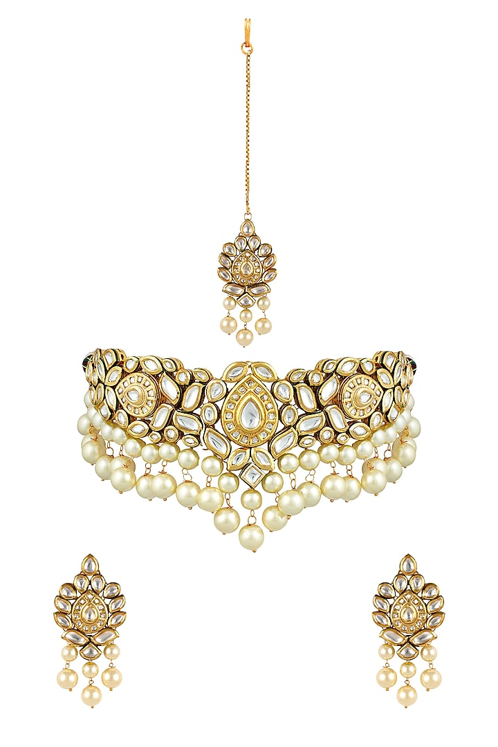 Gold Finish Necklace Set With Kundan & Pearl by Anayah Jewellery