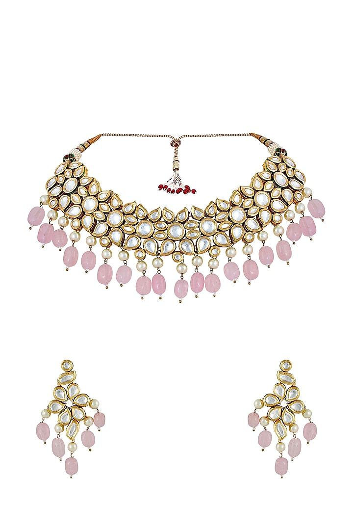 Gold Finish Choker Necklace Set by Anayah Jewellery