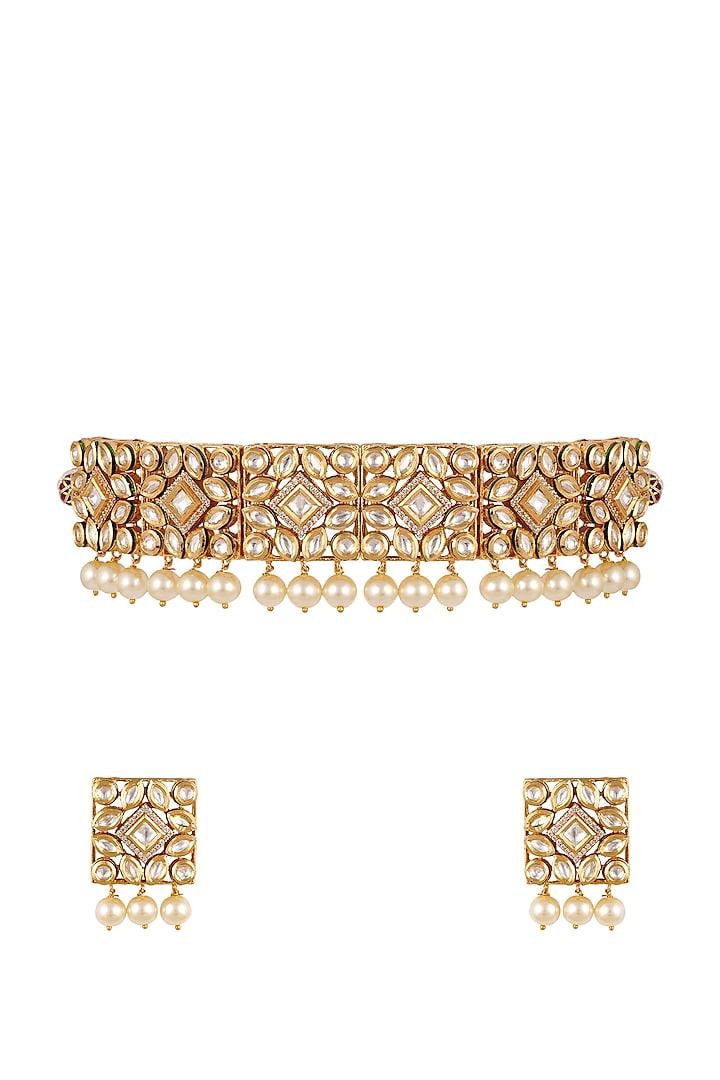 Gold Finish Kundan Choker Necklace Set by Anayah Jewellery