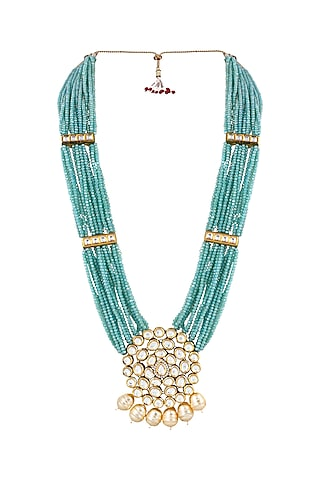 Gold Finish Necklace With Kundans by Anayah Jewellery