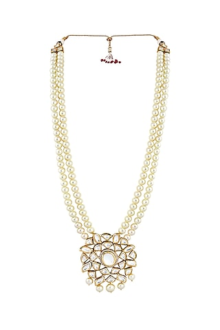Gold Finish Kundan Necklace by Anayah Jewellery