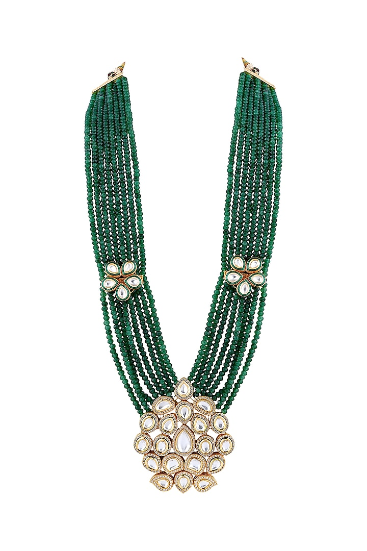 Gold Finish Pearl & Kundan Necklace by Anayah Jewellery