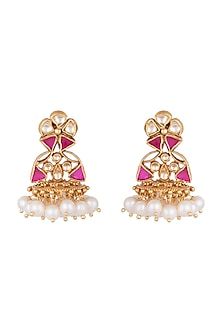 Gold Plated Pearl Hanging Earrings by Ahilya Jewels