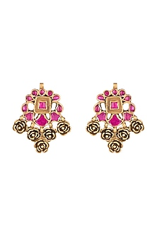 Gold Plated Pink Stone Rose Earrings by Ahilya Jewels