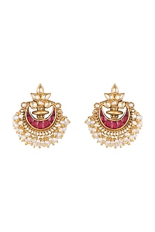 Gold Plated Ruby & Pearl Chandbali Earrings by Ahilya Jewels