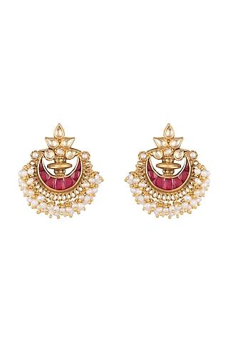 Gold Plated Ruby & Pearl Chandbali Earrings by Ahilya Jewels
