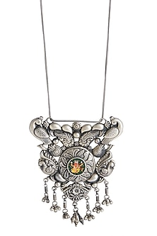 Silver Finish Painted Pendant Necklace by Ahilya Jewels
