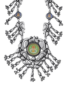 Silver Finish Ganesh Parrot Necklace by Ahilya Jewels