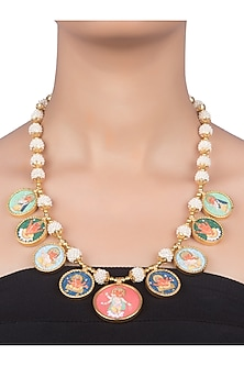 Gold Plated Pearl Necklace With Hand Painting by Ahilya Jewels
