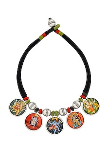 Silver Finish Hand Painted Reversible Necklace by Ahilya Jewels