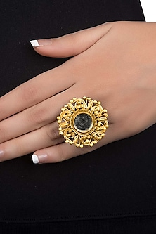 Gold Plated Floral Mirror Ring by Ahilya Jewels