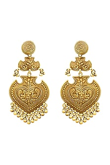 Gold Plated Hand Carved Peacock Earrings by Ahilya Jewels