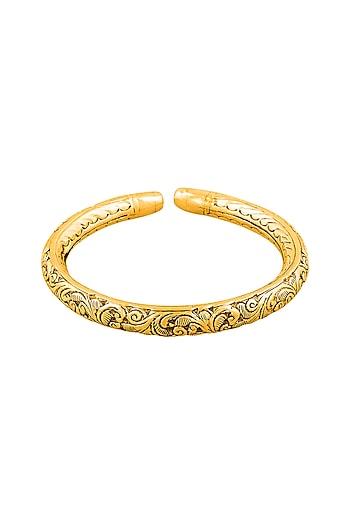 Gold Plated Engraved Kada Bangle by Ahilya Jewels