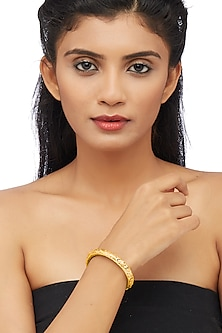 Gold Plated Engraved Kada Bangle by Ahilya Jewels