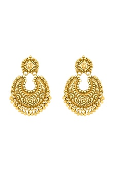 Gold Plated Floral Chandbali Earrings by Ahilya Jewels