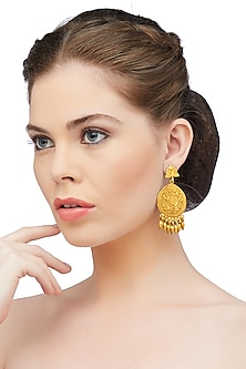 Gold Plated Peacock Chandbali Earrings by Ahilya Jewels