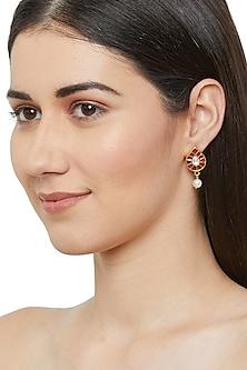 Gold Plated Jadau Stud Earrings by Ahilya Jewels