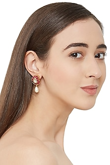 Gold Plated Floral Stud Earrings by Ahilya Jewels