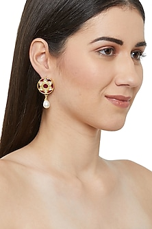 Gold Plated Razia Jadau Stud Earrings by Ahilya Jewels