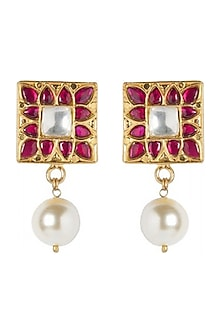 Gold Plated Parinaz Stud Earrings by Ahilya Jewels