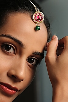 Gold Plated Jadau Maang Tikka by Ahilya Jewels