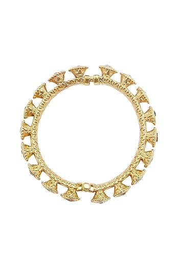 Gold Plated Kundan Floral Bangle by Ahilya Jewels