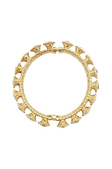 Gold Plated Kundan Floral Bangle by Ahilya Jewels