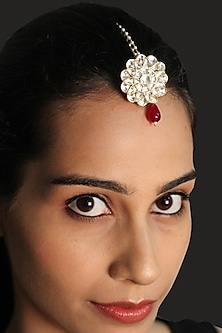 Gold Plated Red Onyx Maang Tikka by Ahilya Jewels
