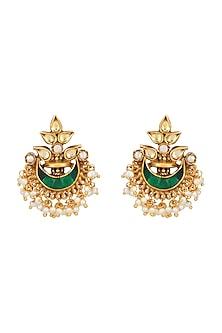 Gold Plated Jadau Chandbali Earrings by Ahilya Jewels