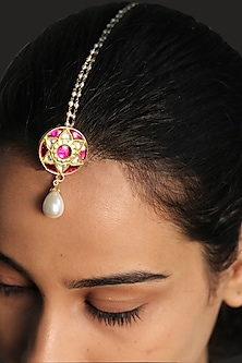 Gold Plated Razia Jadau Maang Tikka by Ahilya Jewels