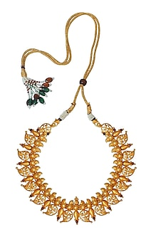 Gold Plated Amra Temple Necklace by Ahilya Jewels