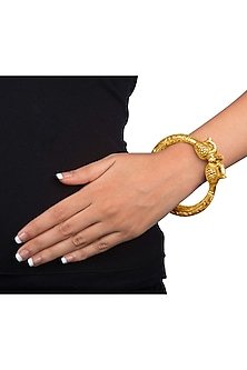 Gold Plated Kada Bangle With Engraved Peacock by Ahilya Jewels