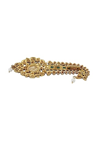 Gold Plated Paisley Brooch by Ahilya Jewels