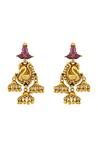 Gold Plated Peacock Temple Jhumka Earrings by Ahilya Jewels